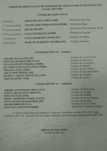 Nominata Chapa FECAM - Gestão 2017/2018